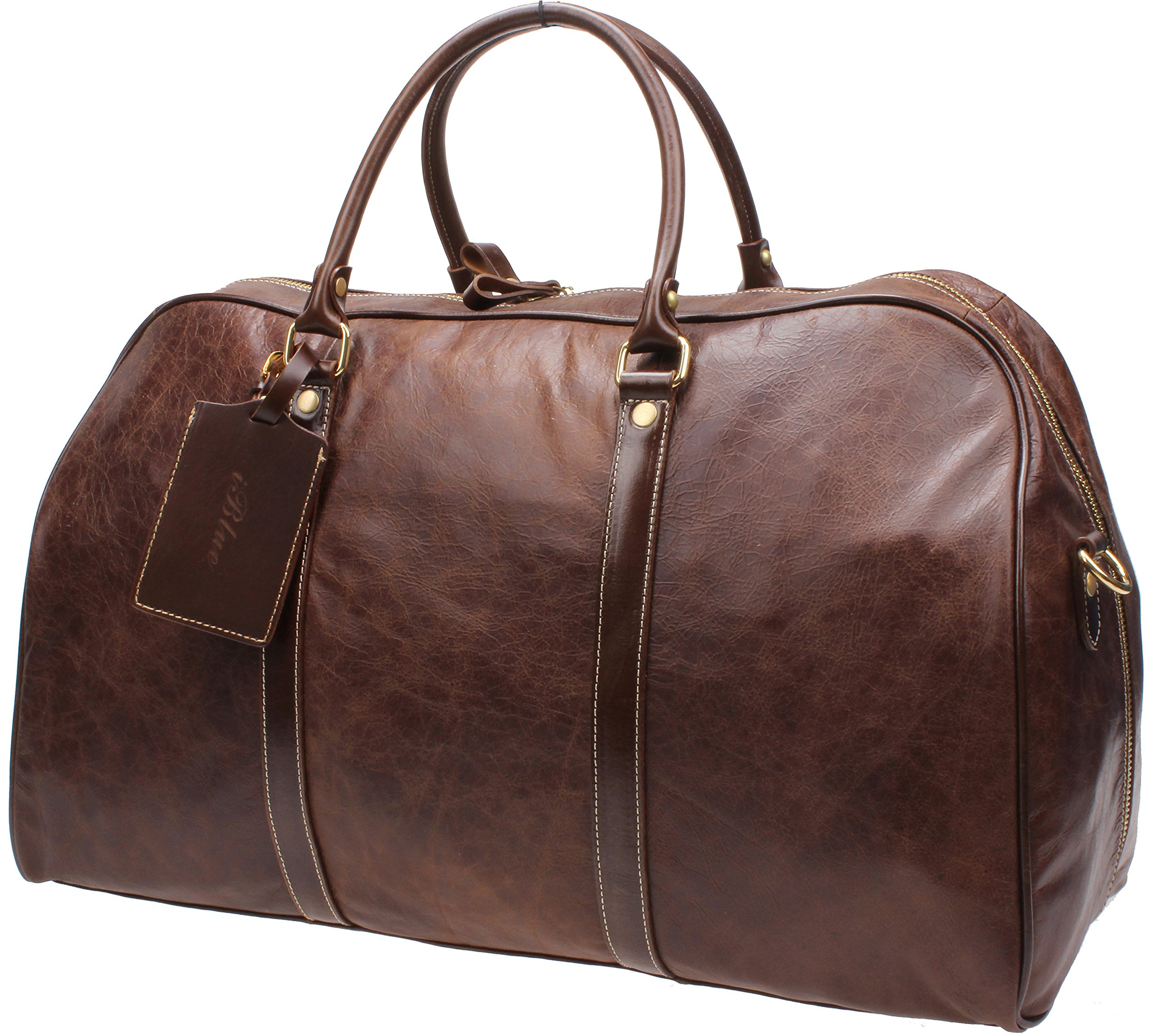 Iblue Mens Genuine Leather Crafted Overnight Travel Duffel Roomy Weekend Carry On Tote Airplane 22in#B002 (XL, dark brown) by iblue