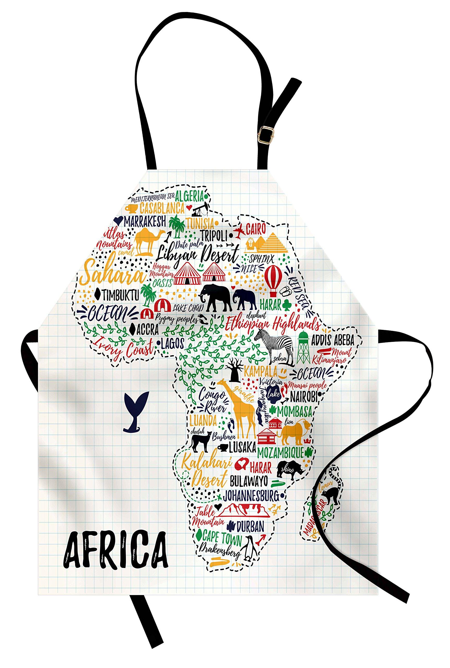 Ambesonne Quote Apron, Colorful Lettering of African Countries in Africa Continent with Animals Art Print, Unisex Kitchen Bib Apron with Adjustable Neck for Cooking Baking Gardening, Multicolor by Ambesonne