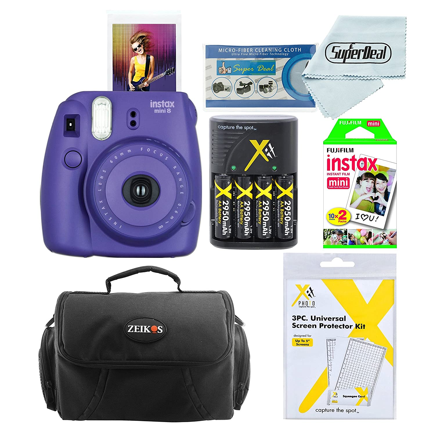 Amazon Fujifilm Instax Mini 8 Instant Film Camera Grape With Twin Pack 20 Sheets Compact Bag Case Batteries