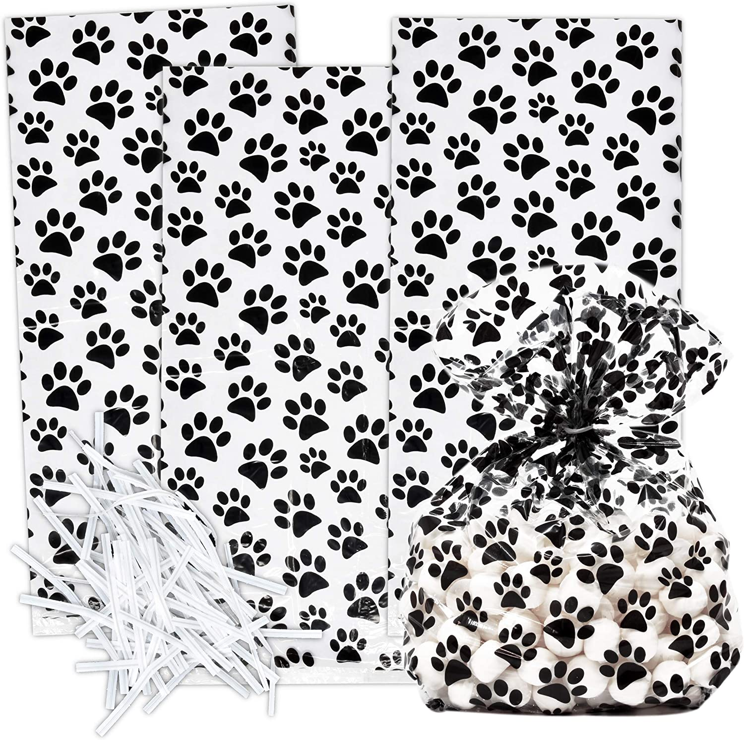 100 Dog Paw Print Cellophane Bags Plastic Treat Favor Bag Animal Pet Paws Themed Birthday Party Supplies Decorations for Kids Classroom Reward, Carnival, Games, Candy Goody Grab Bag Gift Boutique