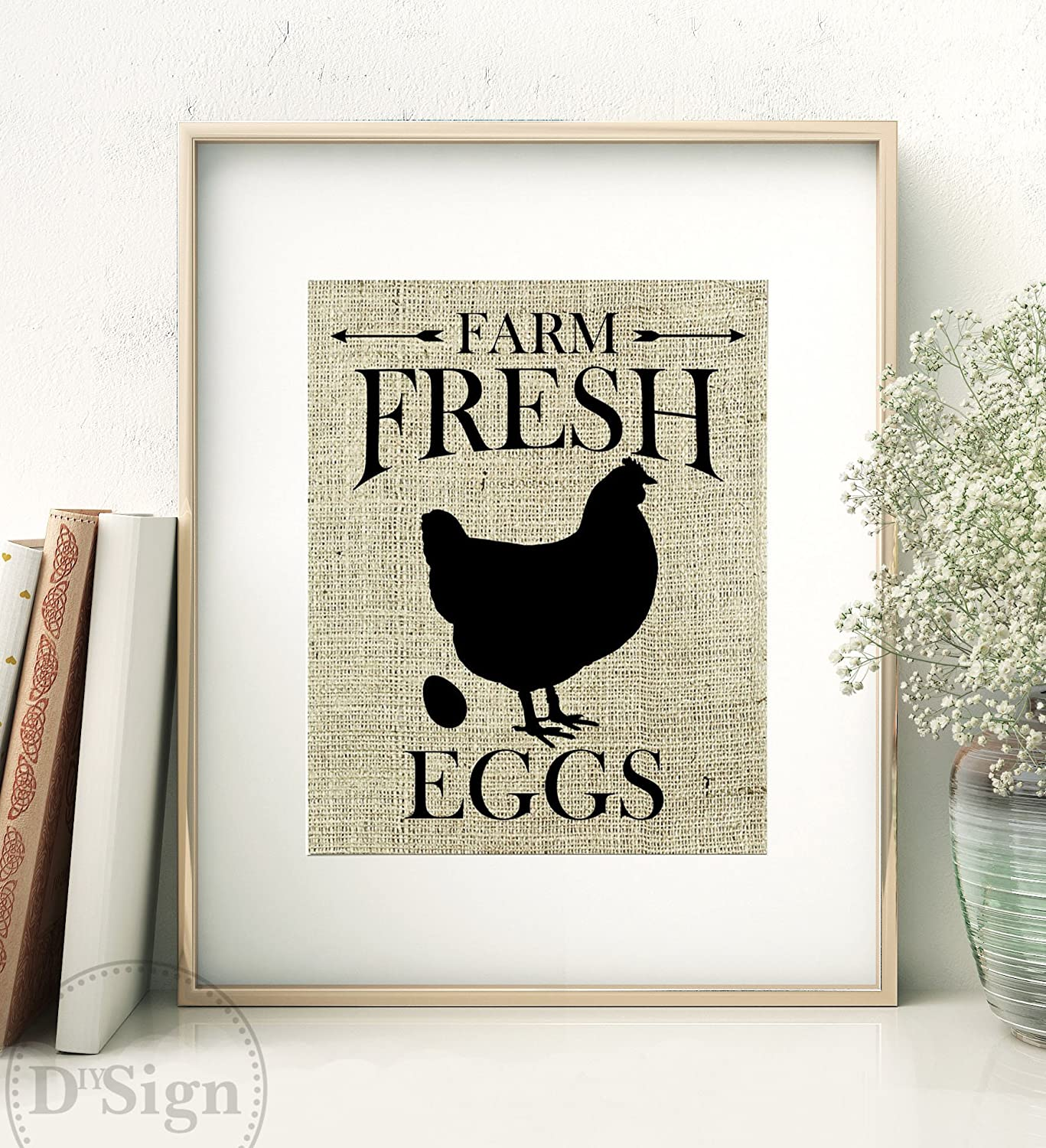 Amazon.com: Rustic Farmhouse Wall Decor, Burlap Sign, Farm Fresh ...