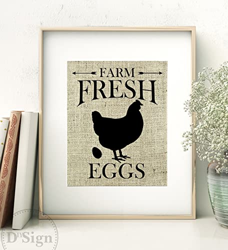 Rustic Farmhouse Wall Decor, Burlap Sign, Farm Fresh Eggs, Kitchen Art 8x10,