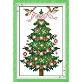 Printed Cross Stitch Kits 11CT 7X10 inch 100% Cotton Holiday Gift DIY Embroidery Starter Kits Easy Patterns Embroidery for Gi