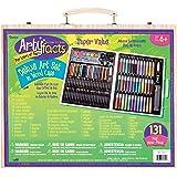 Darice ArtyFacts 便携式美术绘画工具组合131件 木盒豪华装