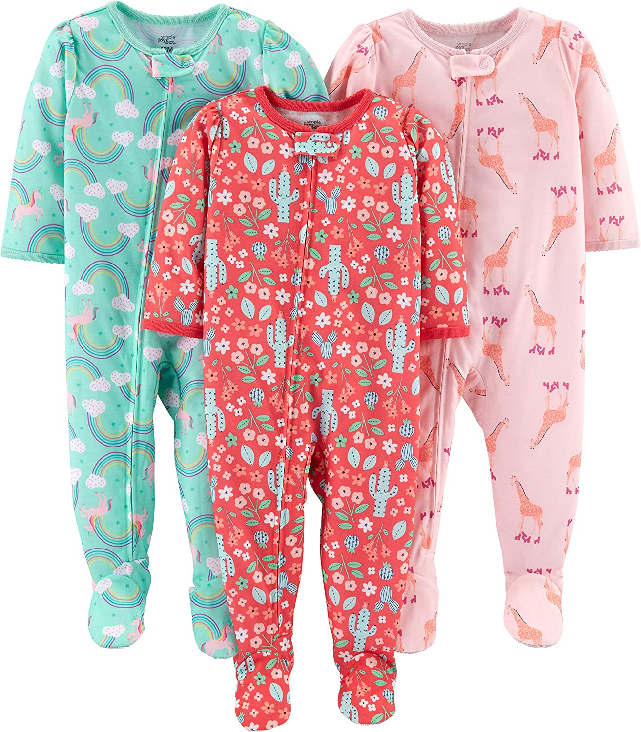 Simple Joys by Carters 3-Pack Loose Fit Flame Resistant Polyester Jersey Footed Pajamas Beb/é-Ni/ños
