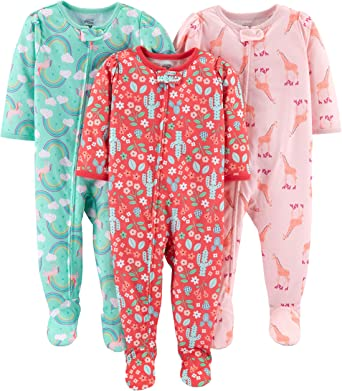 Simple Joys by Carters 3-Pack Flame Resistant Fleece Footed Pajamas Infant-and-Toddler-Sleepers Fox//Dino//Leopard Print 12 Meses