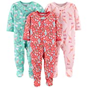 Simple Joys by Carter's Girls' 3-Pack Loose Fit Flame Resistant Polyester Jersey Footed Pajamas, Giraffe/Rainbow/Floral, 12 Months