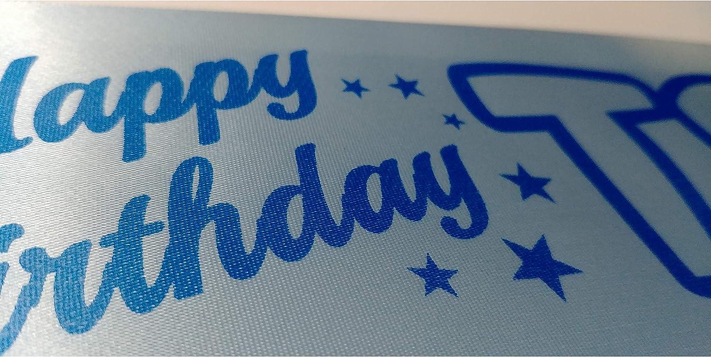 VanessaEstelleSashes Happy Birthday TEENAGER 13th Birthday sash ribbon Teen Party Boys Girls 13 sash Blue