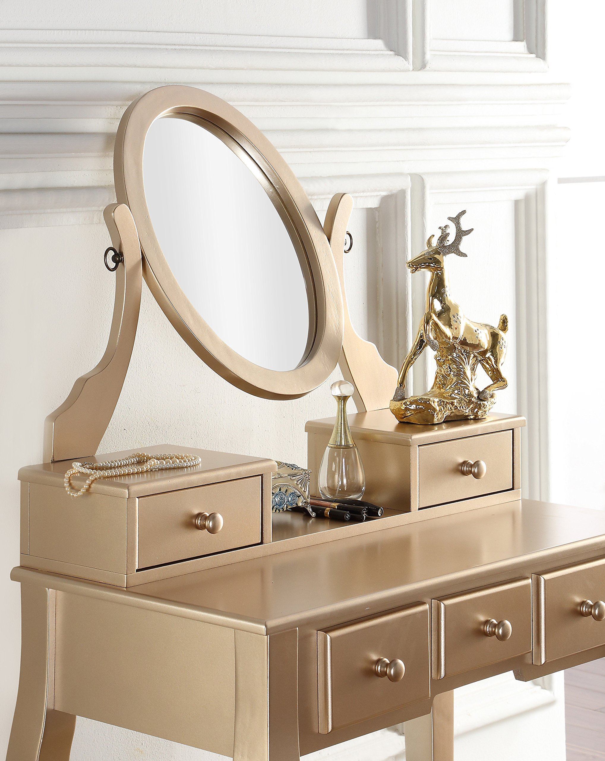 Roundhill Furniture Ashley Silver Wood Makeup Vanity Table And Stool Set Gold Ebay