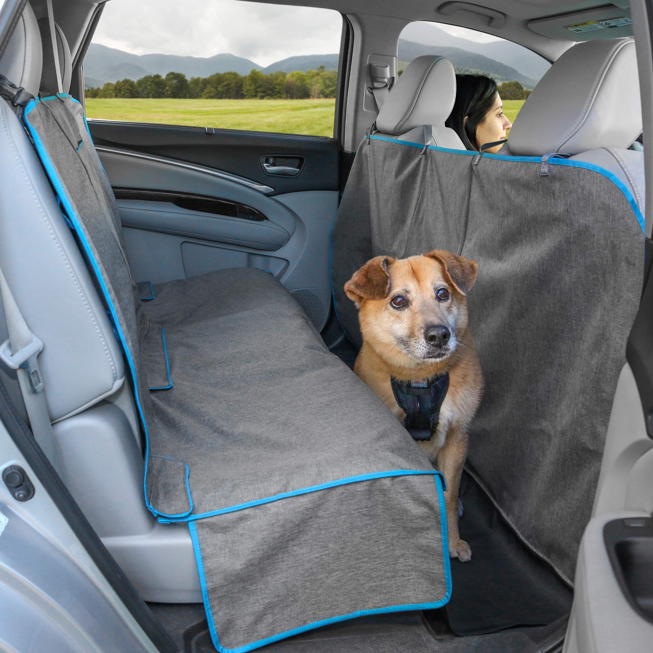 Kurgo Heather Dog Hammock - Pet Seat Cover - Waterproof & Stain Resistant, 55'' Wide, Heather Charcoal Grey