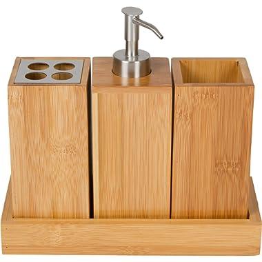 Trademark Innovations Bathroom Bamboo Bath Caddy