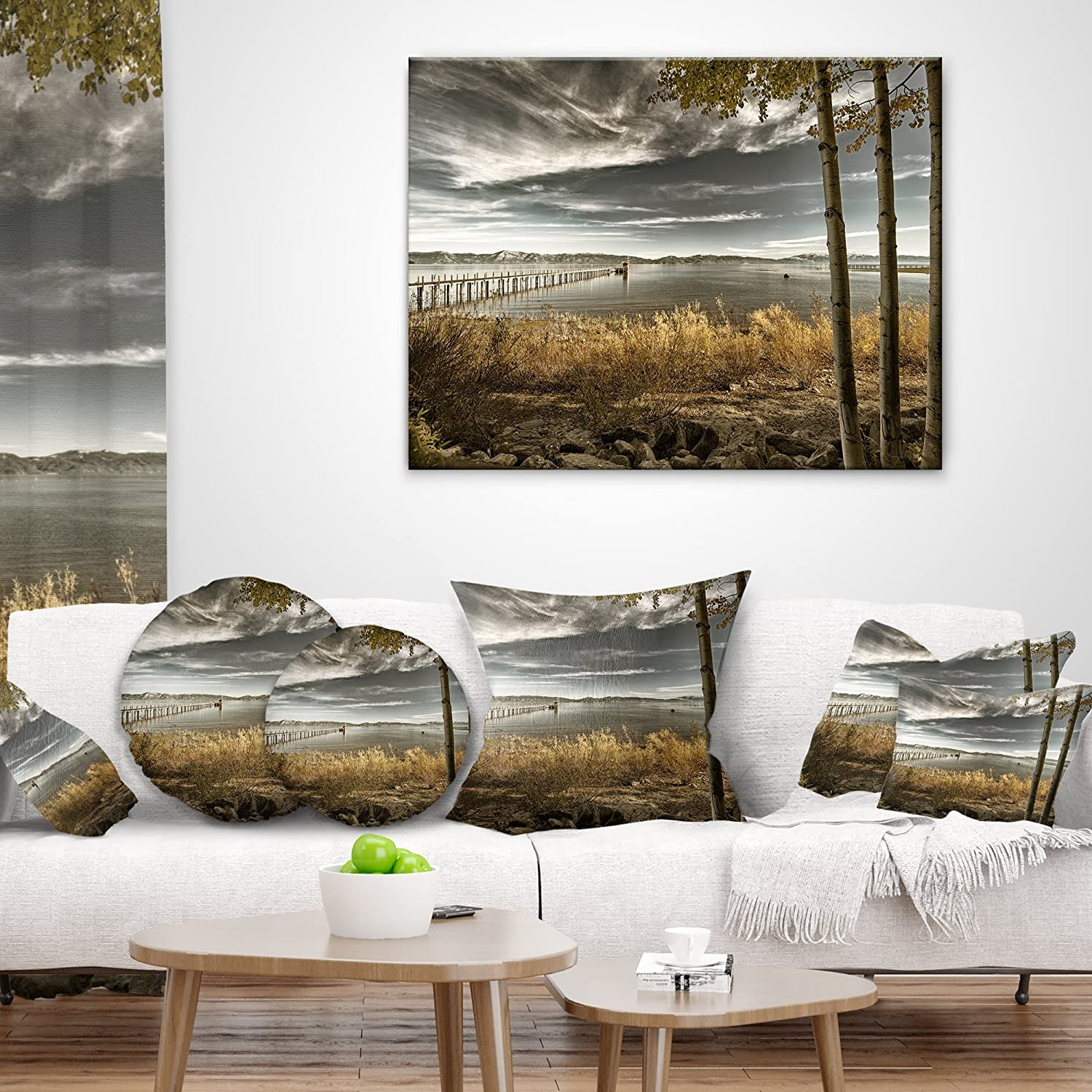 Sofa Throw Pillow 18 in Designart CU8278-18-18 Pier in Brown Lake Landscape Photo Cushion Cover for Living Room in x 18 in