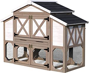 zoovilla Country Style Chicken Coop Metal Nest Box with Asphalt Roof Panels