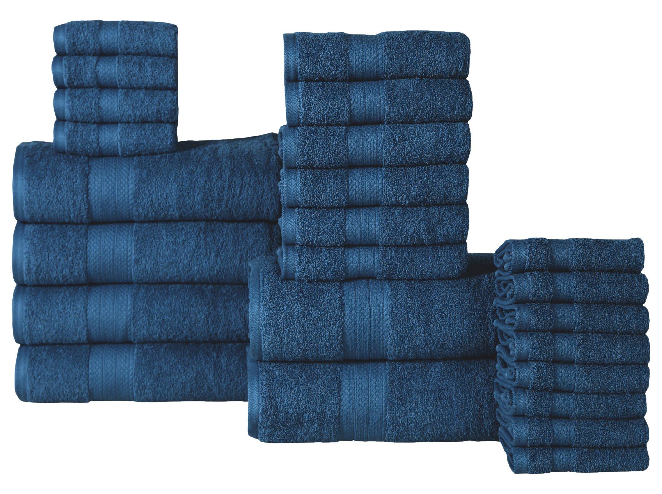 Affinity Home Collection ET24 Economic 24Piece 100% Cotton Bath Towel Set,Denim