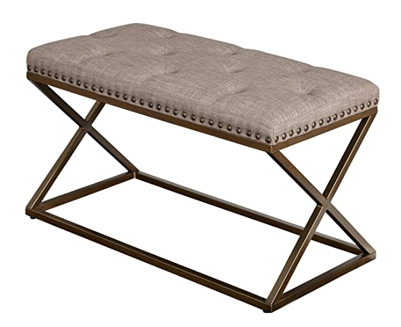 Incredible Target Marketing Systems 72318Tau Ollie Upholstered Bench Taupe Linen With Antique Bronze Nail Head Trim Ibusinesslaw Wood Chair Design Ideas Ibusinesslaworg