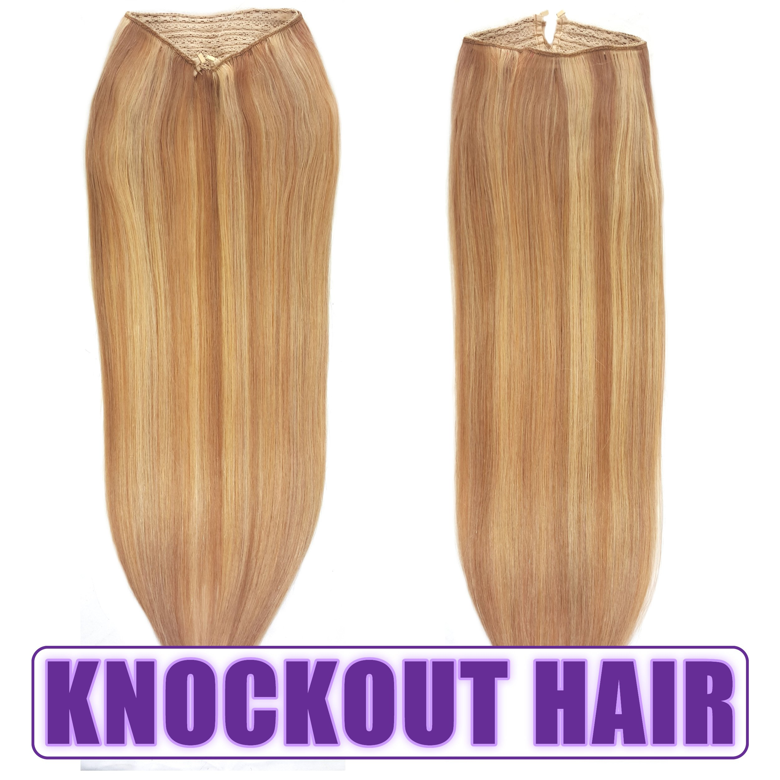 Fits like a Halo Hair Extensions 16''-18'' - No Clips, No glue, No Tape, No Damage! It's so EASY! 100% Remy Premium Couture Grade AAAAA Human Hair! (Golden Brown Swedish Blonde Mix 16'' P#12/20) by Knockout Hair