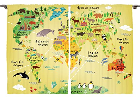 Amazoncom Ambesonne Girls Boys Kids Baby Room Classroom Decor - World map for boys room