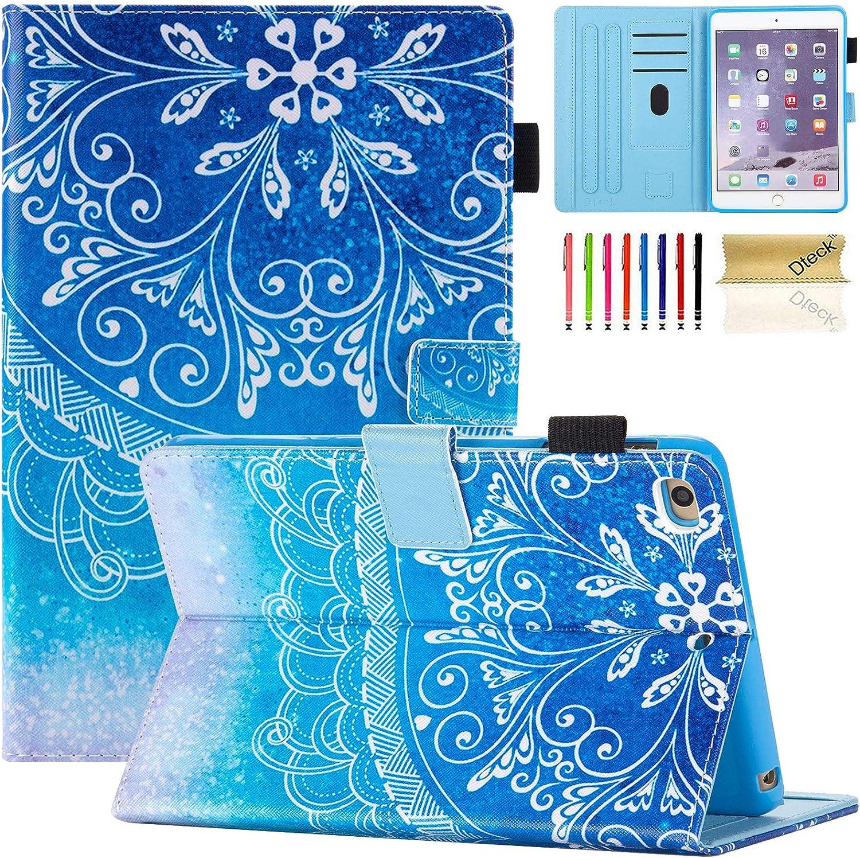 Dteck iPad Mini 1/2/3/4/5 Case - Slim Fit Premium PU Leather Multi-Angle View Folio Stand Wallet Cover with Auto Wake/Sleep Smart for Apple iPad Mini 1/Mini 2/Mini 3/Mini 4/Mini 5, Blue Mandala