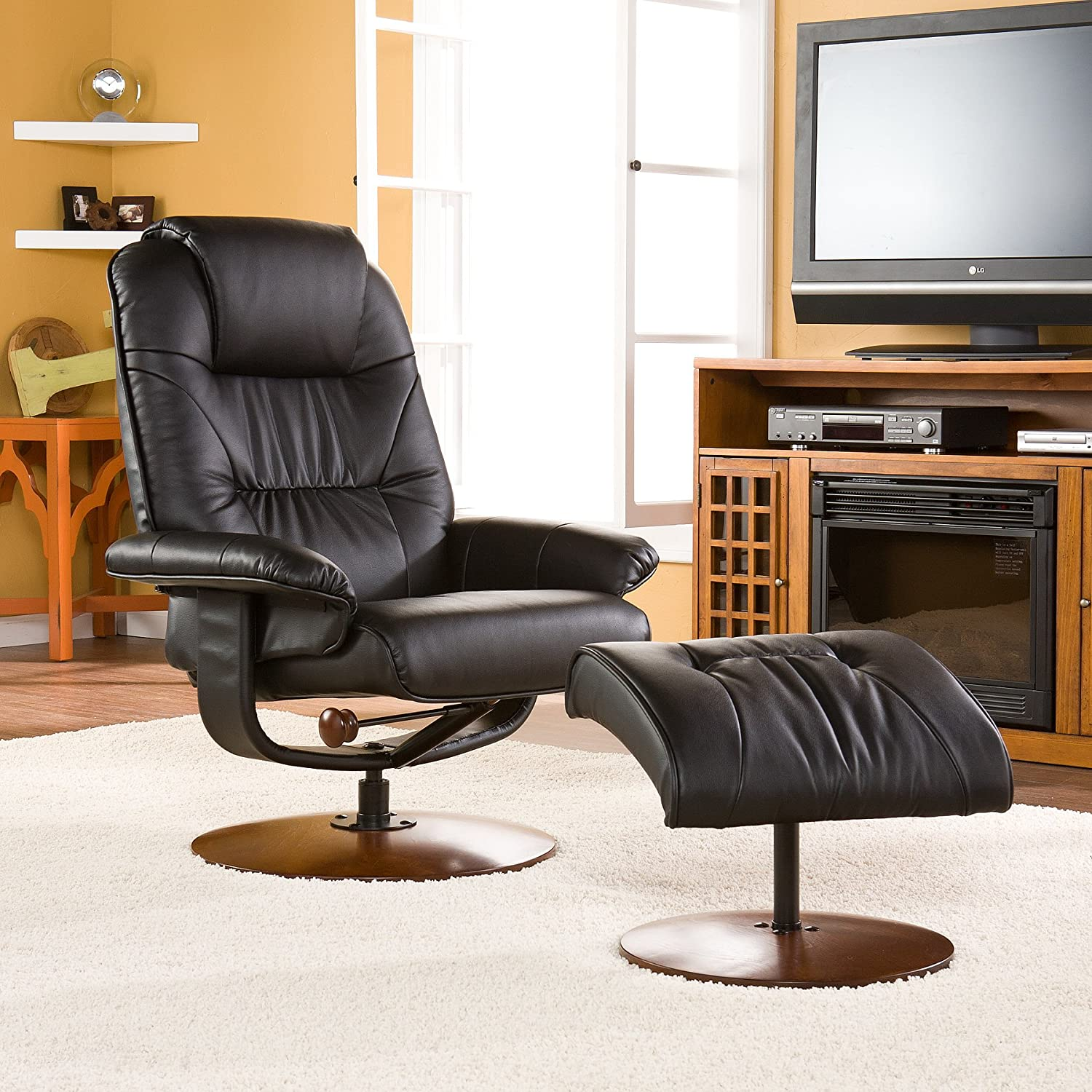 Amazon.com Bonded Leather Recliner and Ottoman - Black Kitchen u0026 Dining & Amazon.com: Bonded Leather Recliner and Ottoman - Black: Kitchen ... islam-shia.org