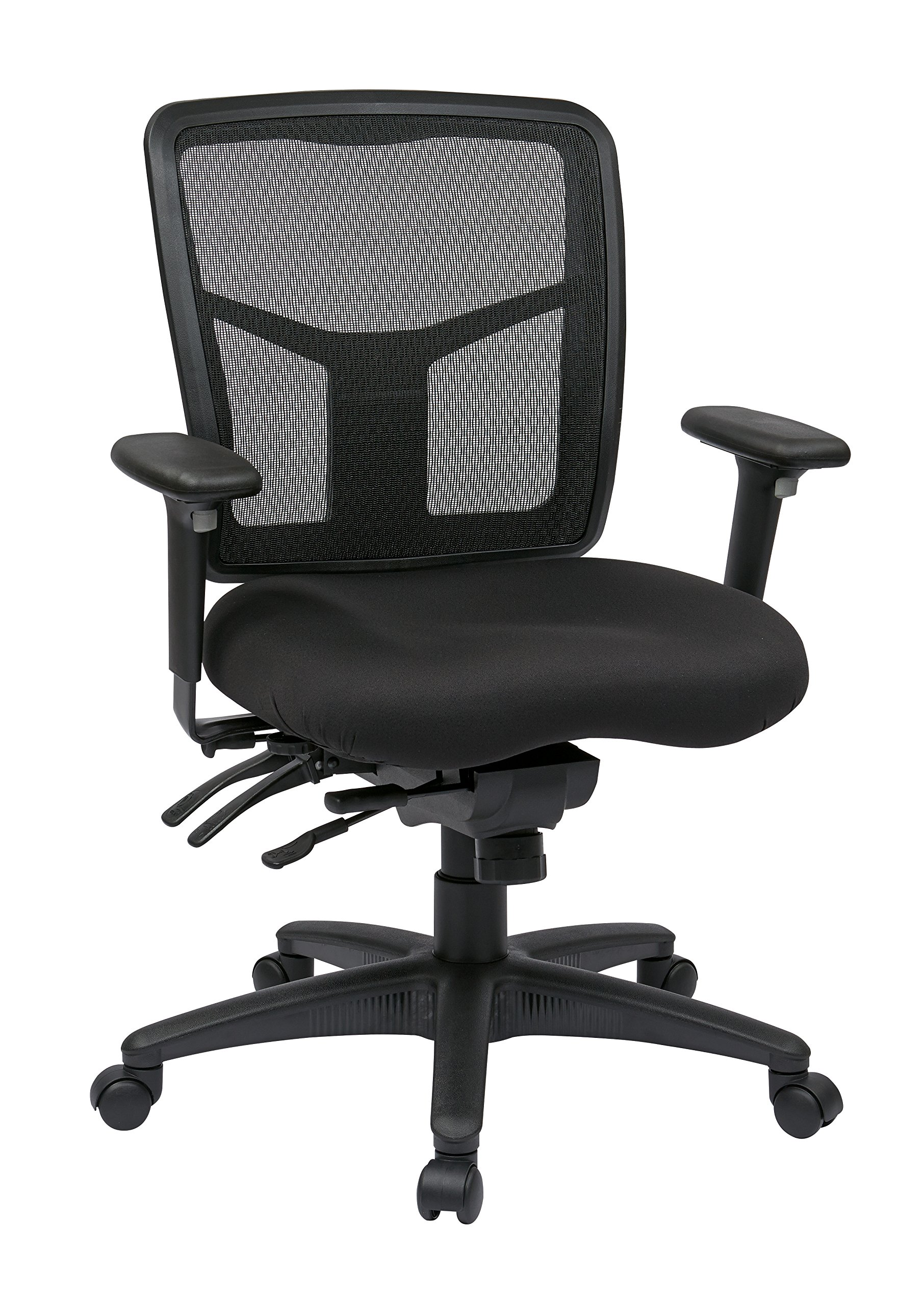 Office Star ProGrid Mesh Back and Molded Foam Coal FreeFlex Seat with Slider, Ratchet Height Adjustable Back, 4-Way Adjustable Arms, Nylon Base Adjustable  Mid Back Managers Chair, Black