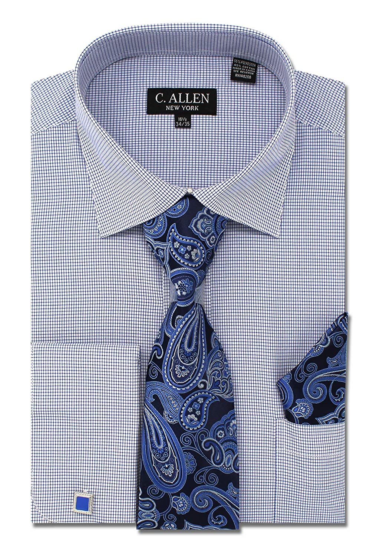 Allen Mens Checks Plaid Pattern Regular Fit Dress Shirts with Tie Hanky Cufflinks Combo C