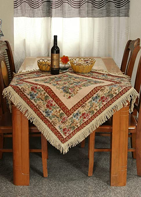 Amazon Com Tache Square 35 X 35 Festive Red Yuletide Blooms Woven Tapestry Tablecloth Linen 5598 Home Kitchen