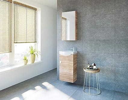 Planetmoebel Badmöbel Set Gäste Wc Waschtischunterschrank Keramikwaschbecken Spiegelschrank Sonoma Eiche