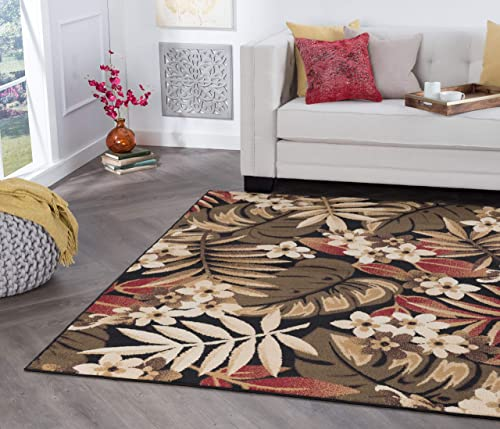 Universal Rugs Carribe Area Rug, 7 10 x 9 10 , Black