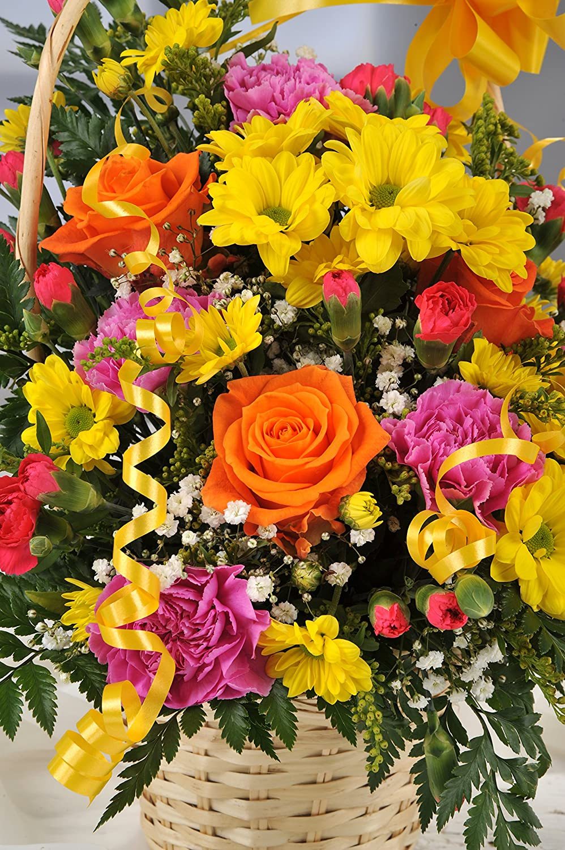 Bright Yellow Fresh Flower Gift Basket With Handwritten Card
