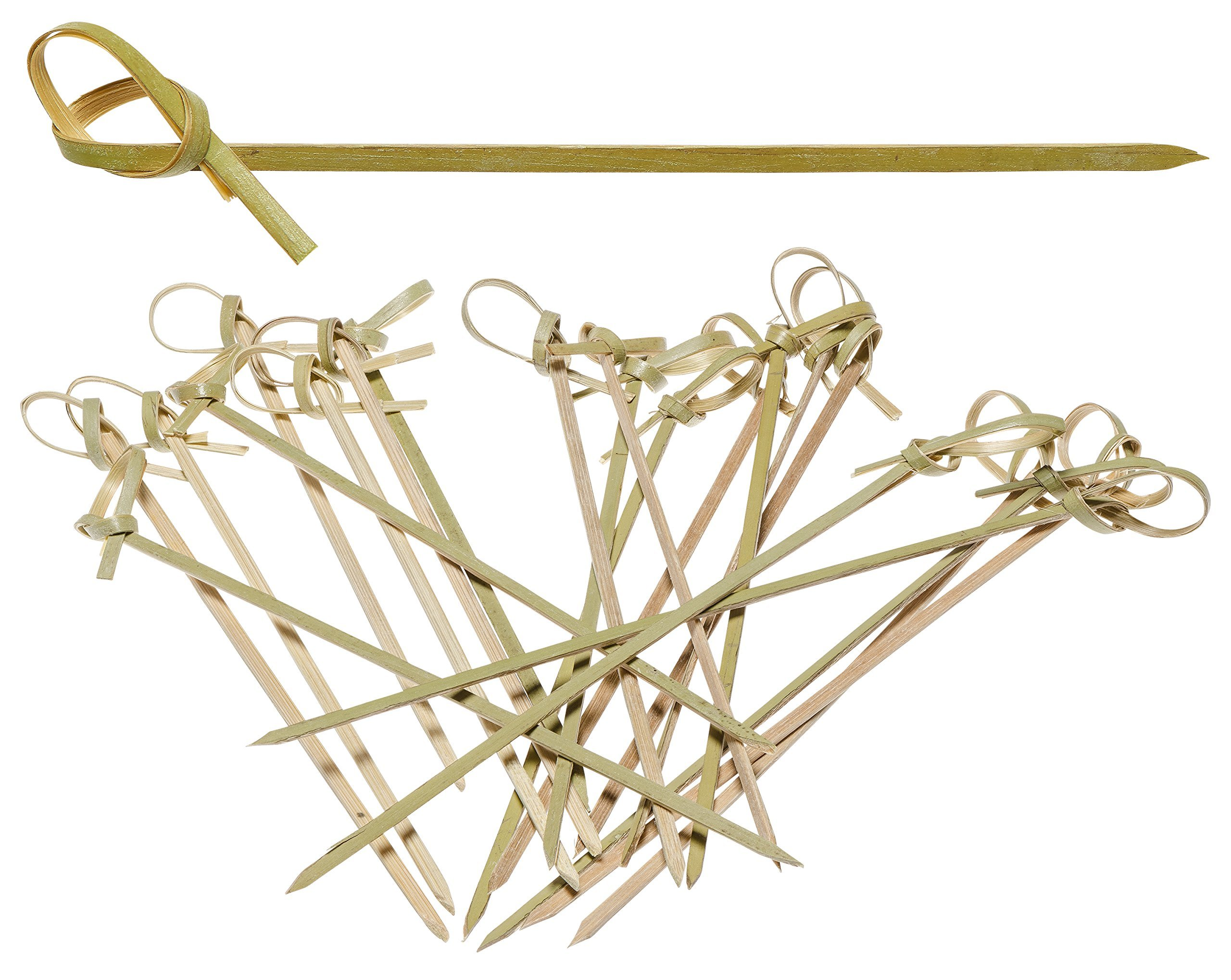 Prexware Bamboo Knot Skewers, 6 Inch Knotted Skewers, Twisted Ends Bamboo Picks Cocktail Picks 100 Ct
