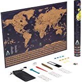 Scratch Off World Map Poster, Size 24 x 17 inch - with US States Outline and Country Flags- Including Push Pins and Memory Stickers- Best Gift for Travelers- by Adroit World (Fulfillment by Amazon)