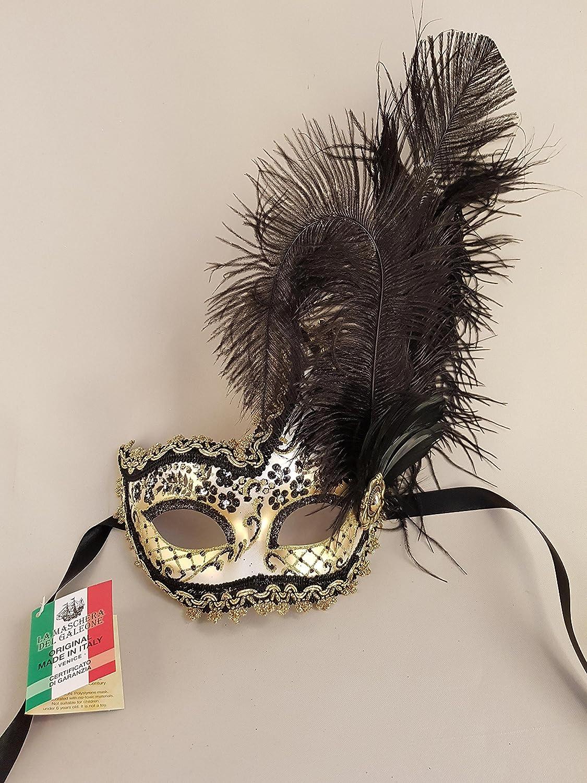 Nero Maschera Veneziana Ciuffo Onda Giada