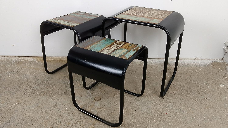 Lot de 3 Table d'appoint Table basse main massif Canapé Table Design Industriel