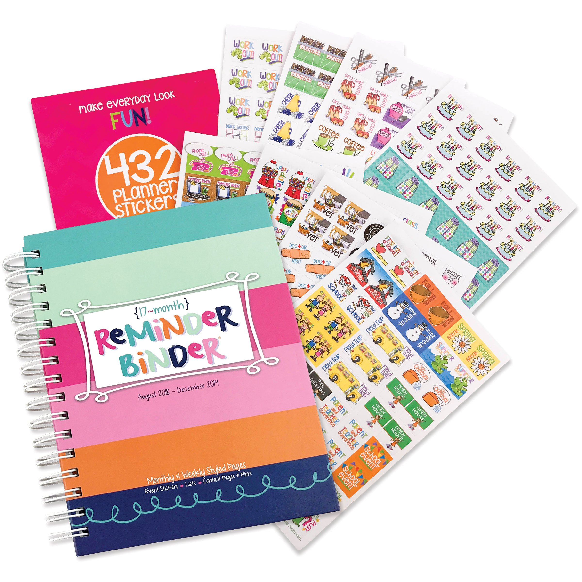 2018-2019 (17-Month) Planner & Variety Sticker Set - Weekly & Monthly Horizontal Layout, 6.5'' x 8.5'', Twin-Wire Binding, Hard Cover, Elastic Closure, Checklists, Pockets & Dividers by Reminder Binder