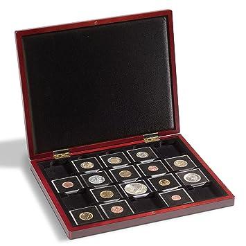 Leuchtturm 341012 Estuche de madera para monedas con 30 divisiones esquinadas 50x50 mm p. QUADRUM,negro