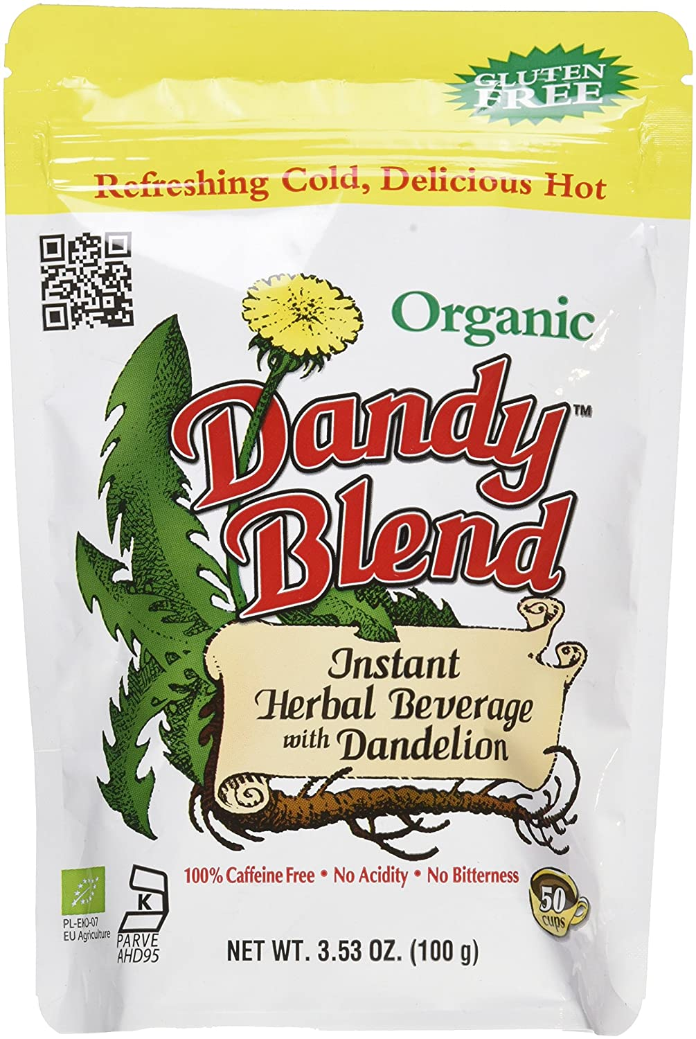 50 Cup Bag of Certified Organic Dandy Blend Instant Herbal Beverage with Dandelion, 3.53 oz. (100g) Bag