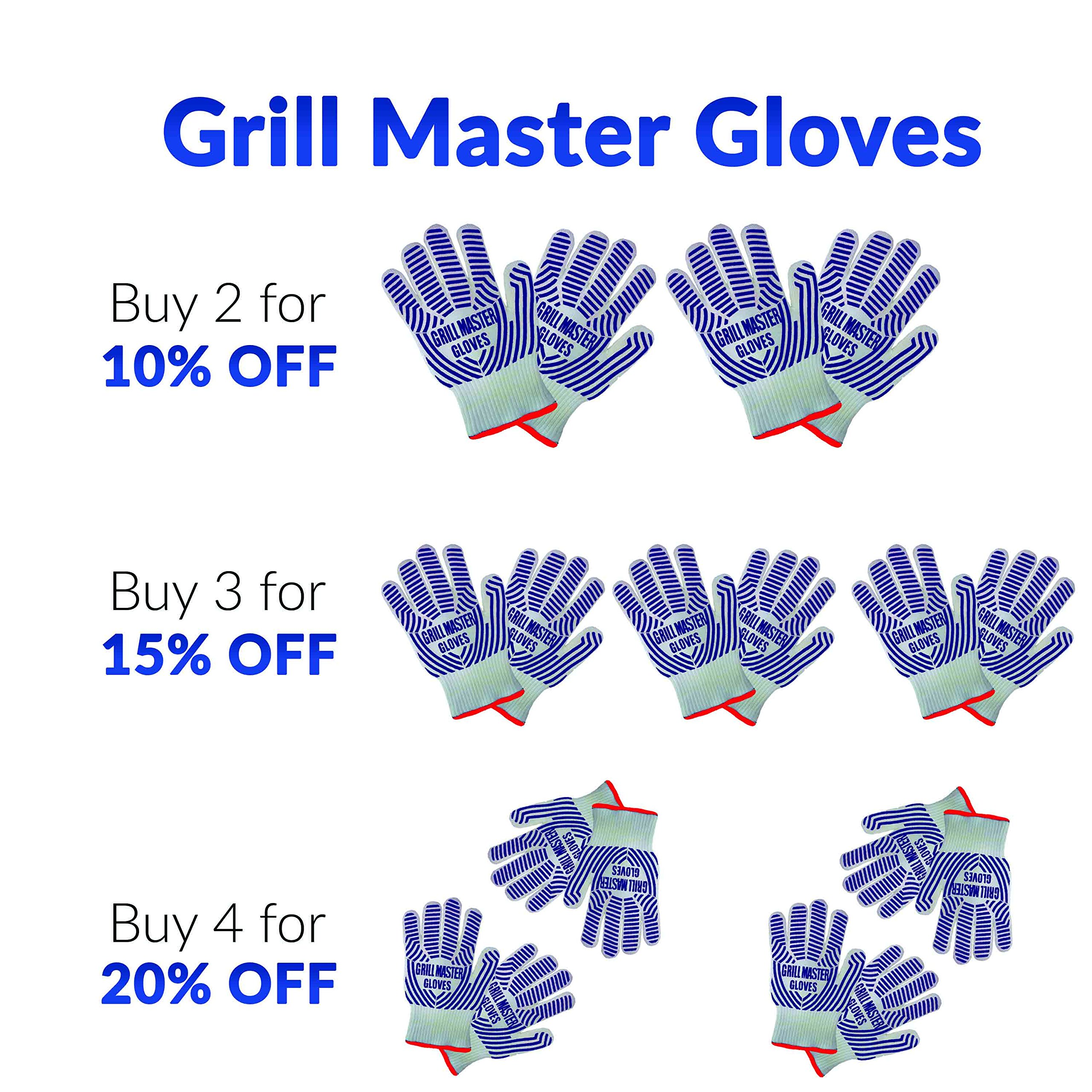 Grill Gloves Heat Resistant Extreme BBQ Gloves Oven Gloves Rated to 932f - Ideal Grilling Gloves by Grill Master (Black) by Grill Master Gloves (Image #6)