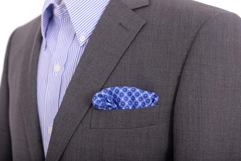 Cesare Attolini Blue Circle Motif Silk Pocket Square Handmade In Italy