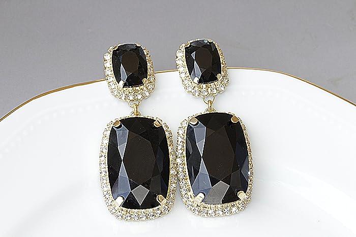 d900709380a0c Amazon.com: BLACK DANGLE EARRINGS, Chandalier Earrings, Swarovski ...