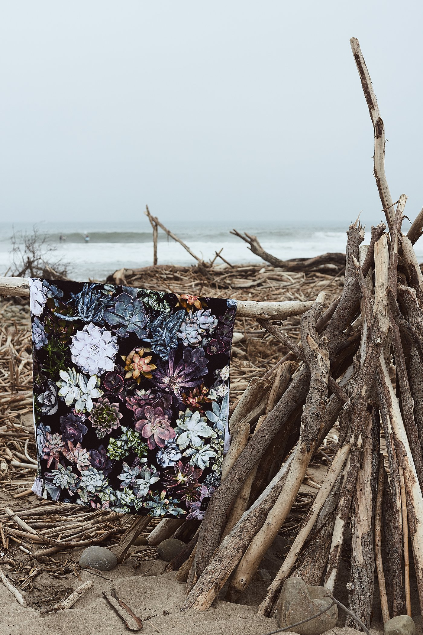 Slowtide - Mojave Beach Towel | 100% Cotton Velour - Hanging Loop - 62 x 34 Inches