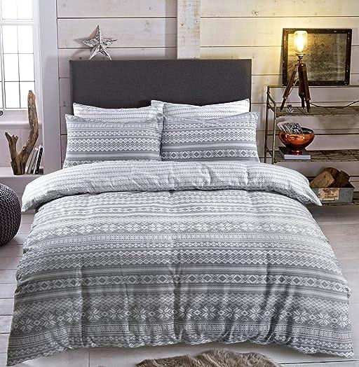 Flannel Duvet Cover Set Double With Pillowcases Quilt Bedding Set ...