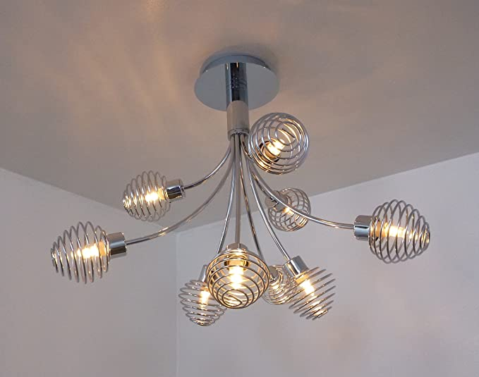 9 way cromo lámpara de techo halógena Muelle de metal tonos ...