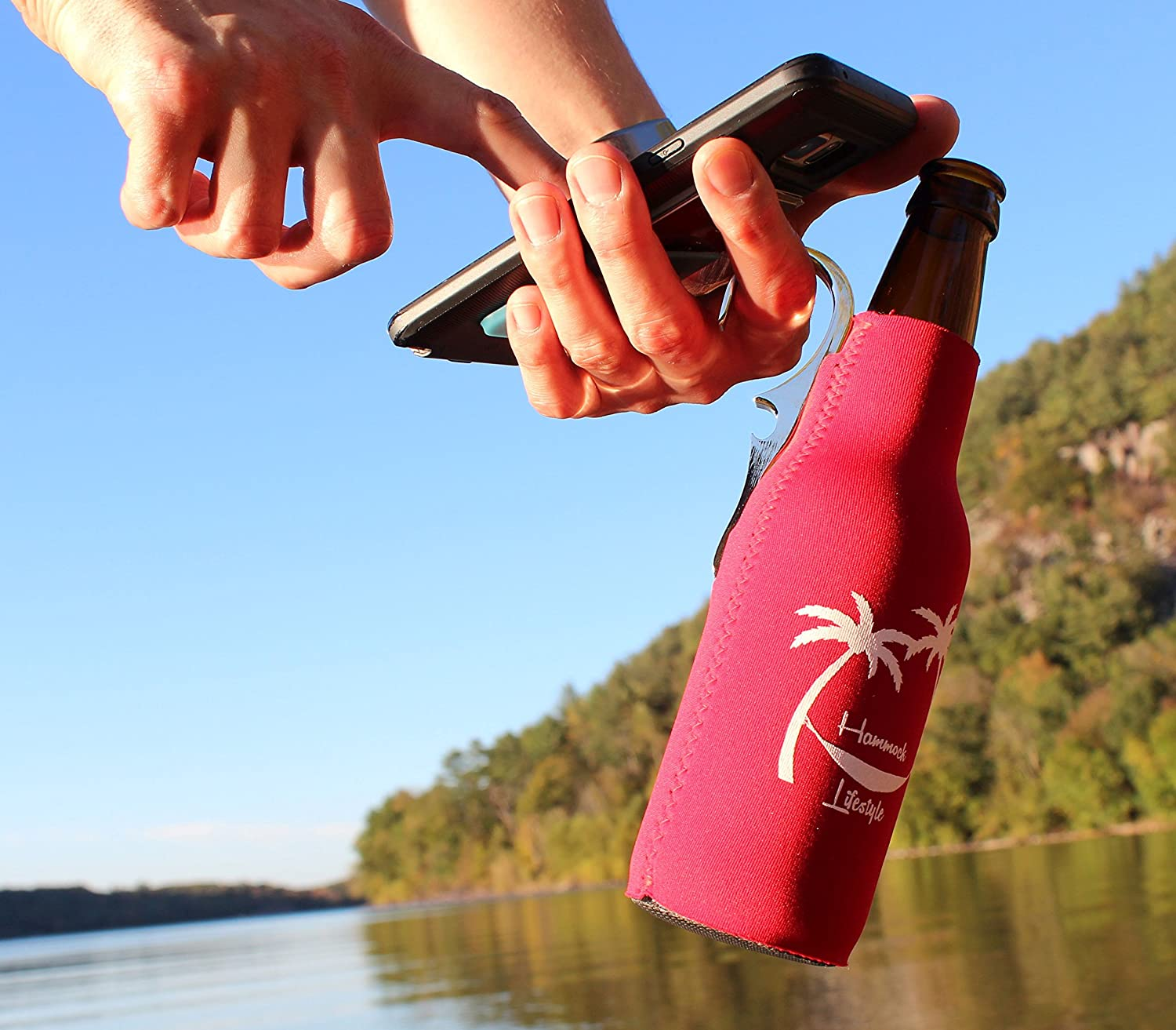 CoozieClaw Unique Bottle Cooler with Built in Hook and Bottle Opener Fun Gift #1 Hanging Bottle Holder Easily Hang Your Cold Beer Bottle Sleeve Anywhere Hammock Lifestyle USA 1, Turquoise With Logo