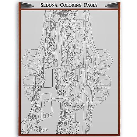 Sedona Arizona Adult Coloring Cathedral Rock Yoga Sedona