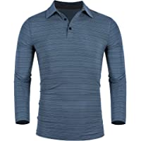 poriff Men's Polo Shirts Long Sleeve Golf T-Shirts Dry Fit T Shirt Casual Striped Collar Tops