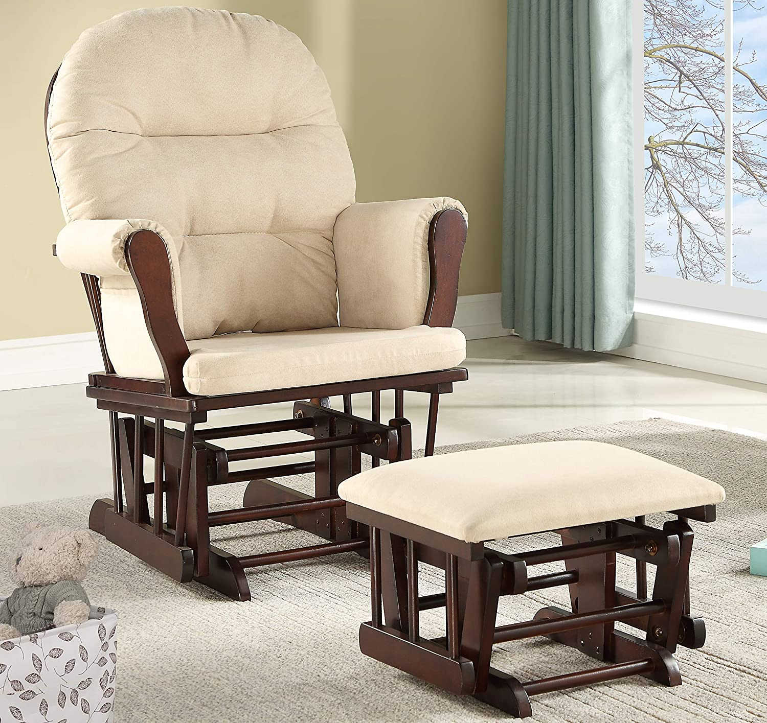 Espresso//Beige Lennox Furniture Emily Glider Chair and Ottoman Combo