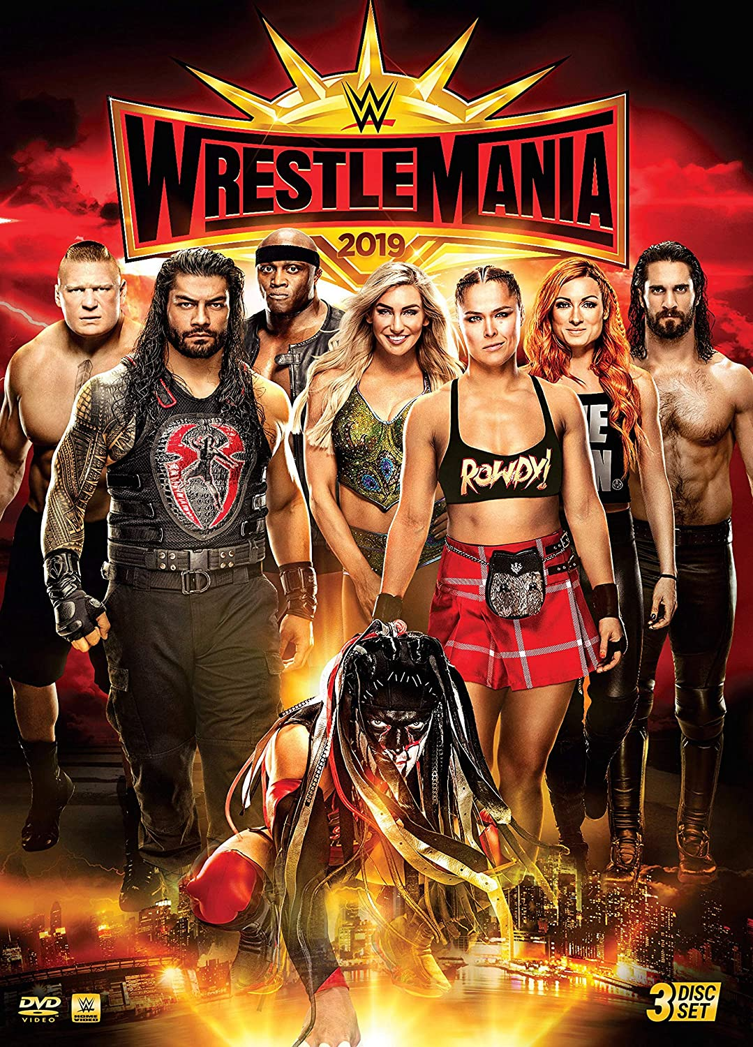 Art WrestleMania 35 Poster 2019 WWE Event Ronda Rousey VS Flair VS Lynch Art Print