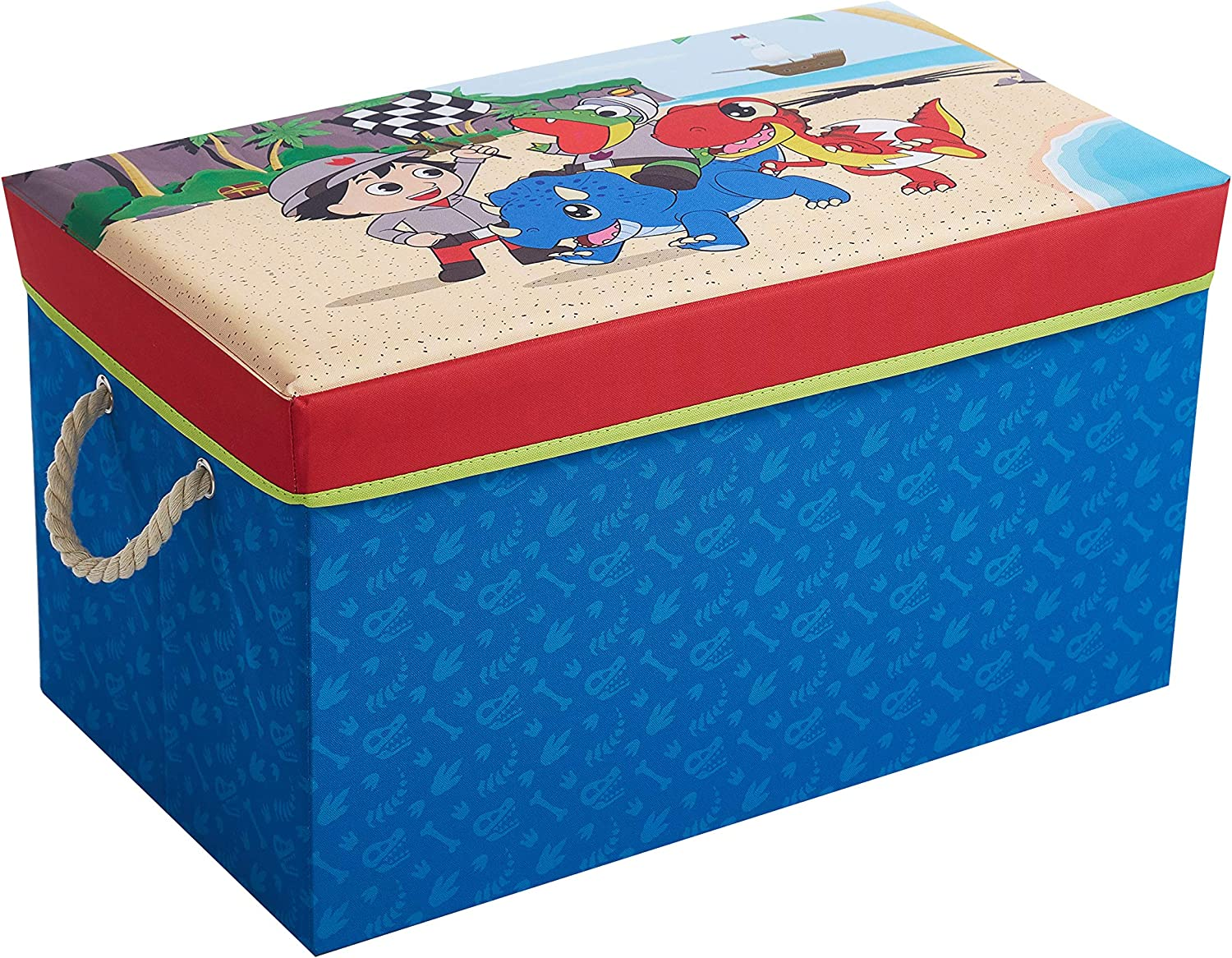 Idea Nuova Ryan's World Collapsible Toy Storage Bench and Ottoman, 14.5