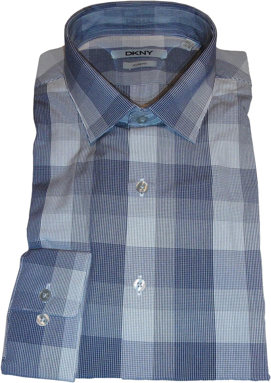 DKNY Mens Slim Fit Shirt Color Deep Blue Size 15 1//2 34//35