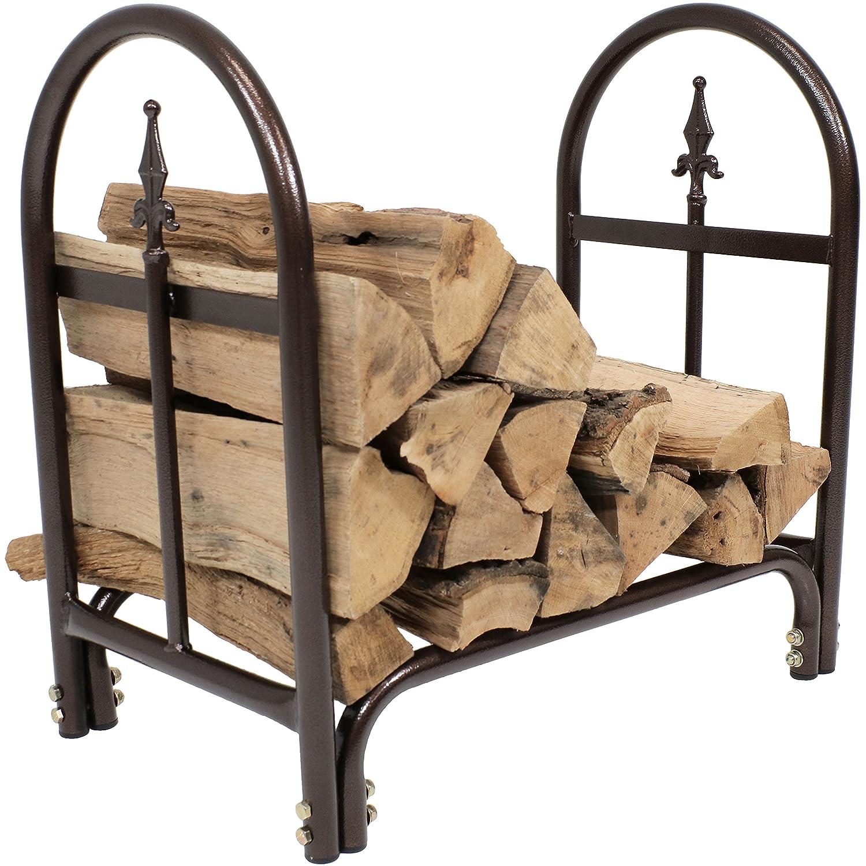 Sunnydaze 2-Foot Firewood Log Rack, Indoor Outdoor Decorative Wood Storage Holder for Fireplace, Bronze